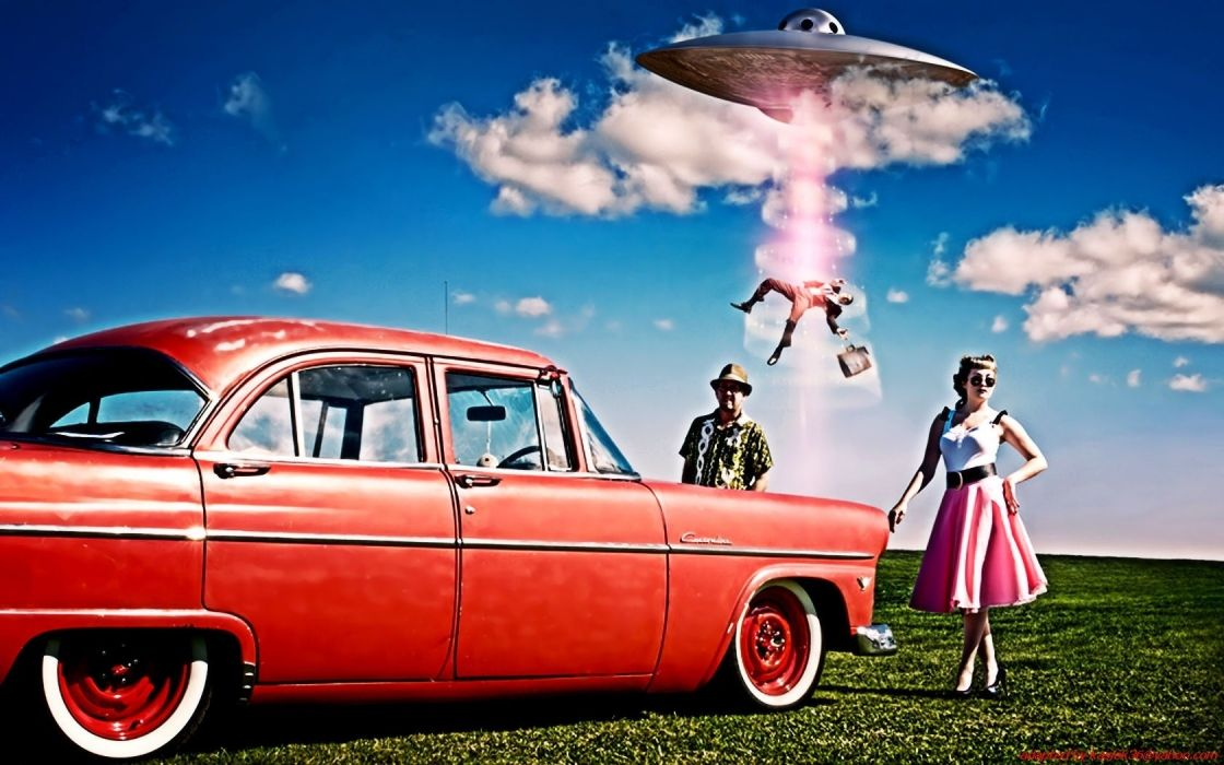 retro classic advertising sci fi humor ufo aliens women men wallpaper