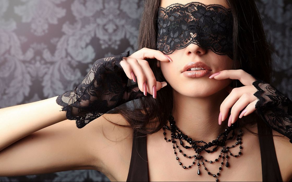 mood gothic mask glamor lace face jewelry women model brunettes sexy babes wallpaper