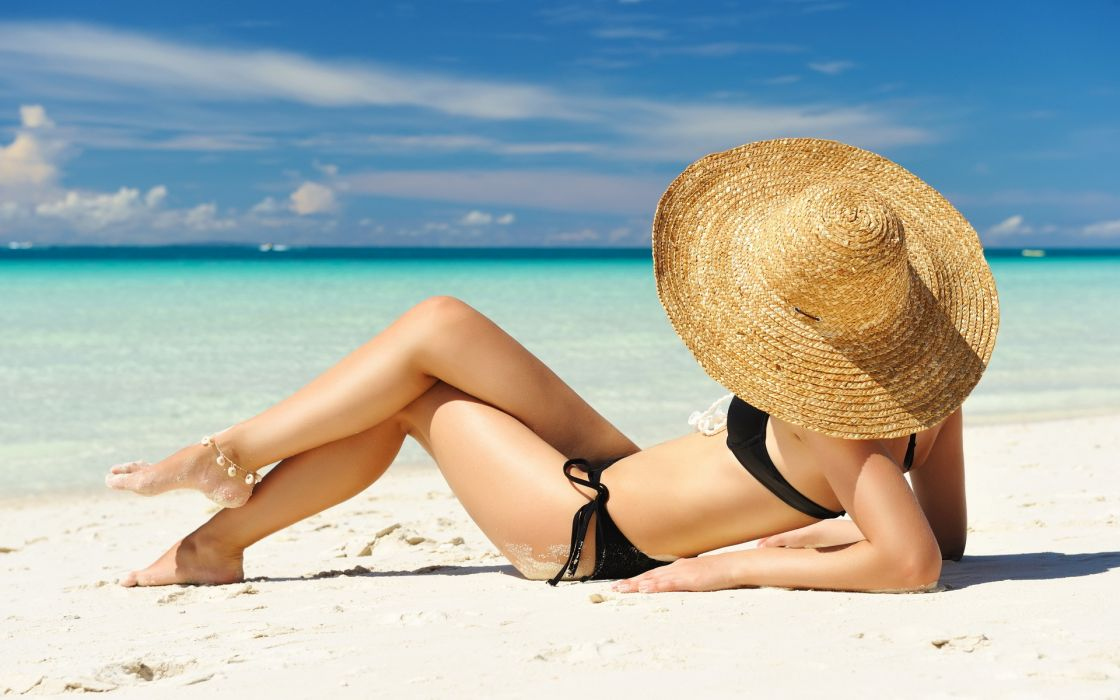 Catrin Claeso women model fashion brunettes sexy babes swimwear bikini beaches ocean sky clouds wallpaper
