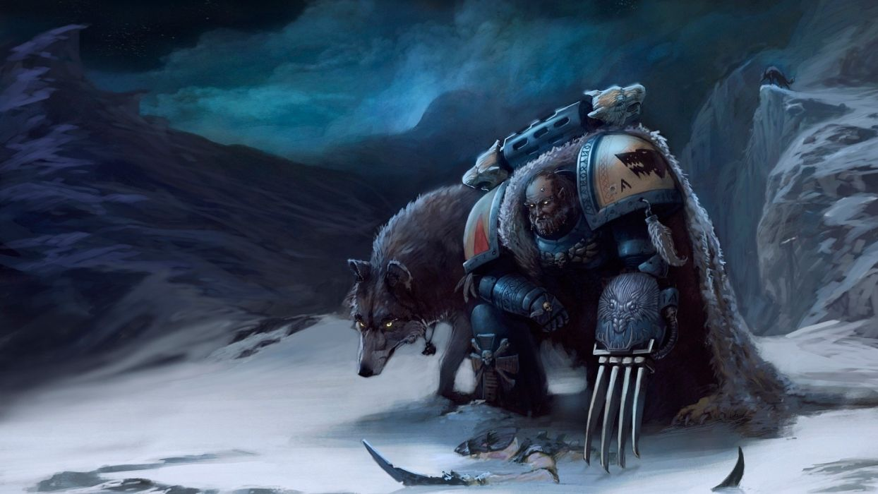 Warhammer 40k Space Marines Wolf Drawing sci fi art warriors weapons wallpaper