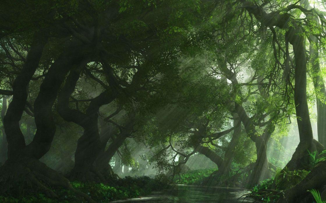 art cg digital landscapes forest haze filtered sunlight beams rays wallpaper