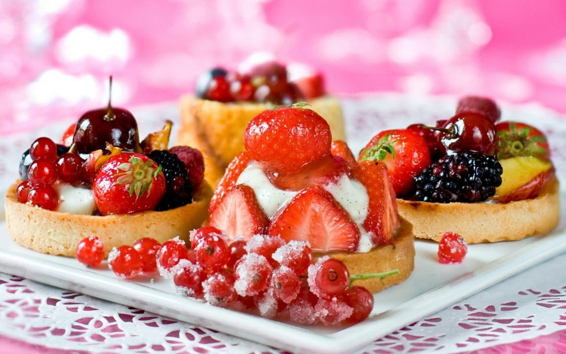 sweets dessert pastry fruit strawberry cherry berry wallpaper