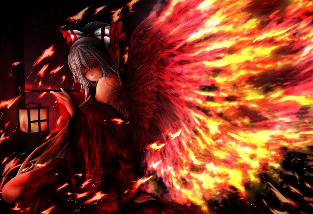 touhou fantasy vector art angels fire wings girl gothic dark horror wallpaper
