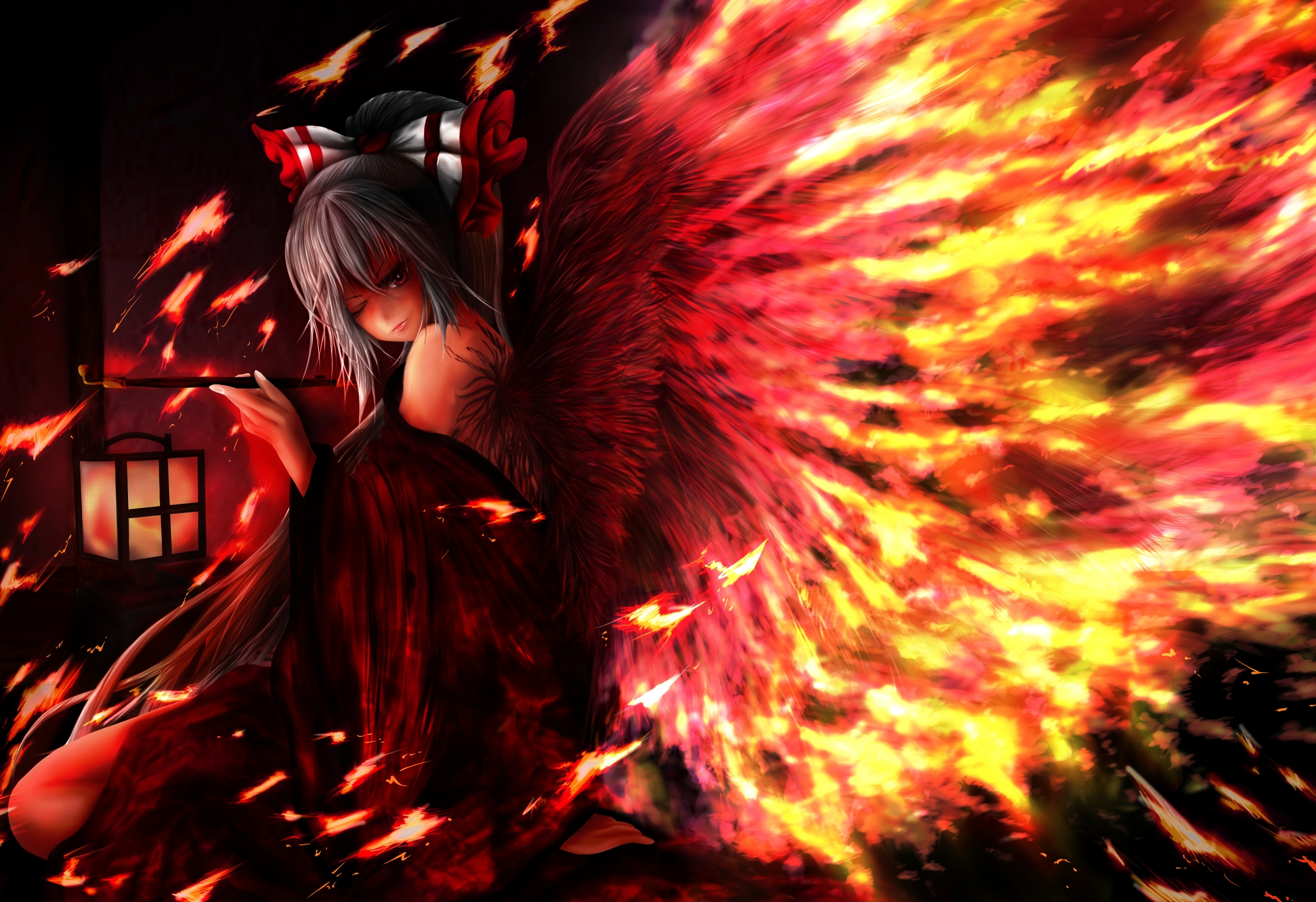 Touhou fantasy vector art angels fire wings girl gothic ...