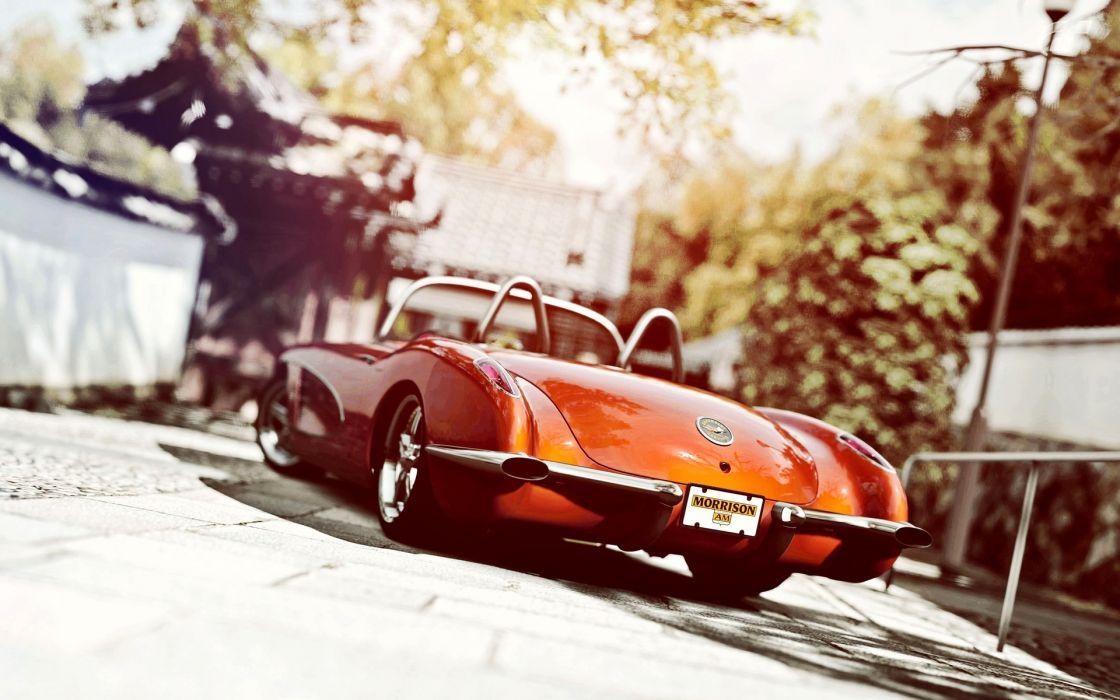 chevrolet corvette custom retro classic muscle cars hot rod tuning wallpaper