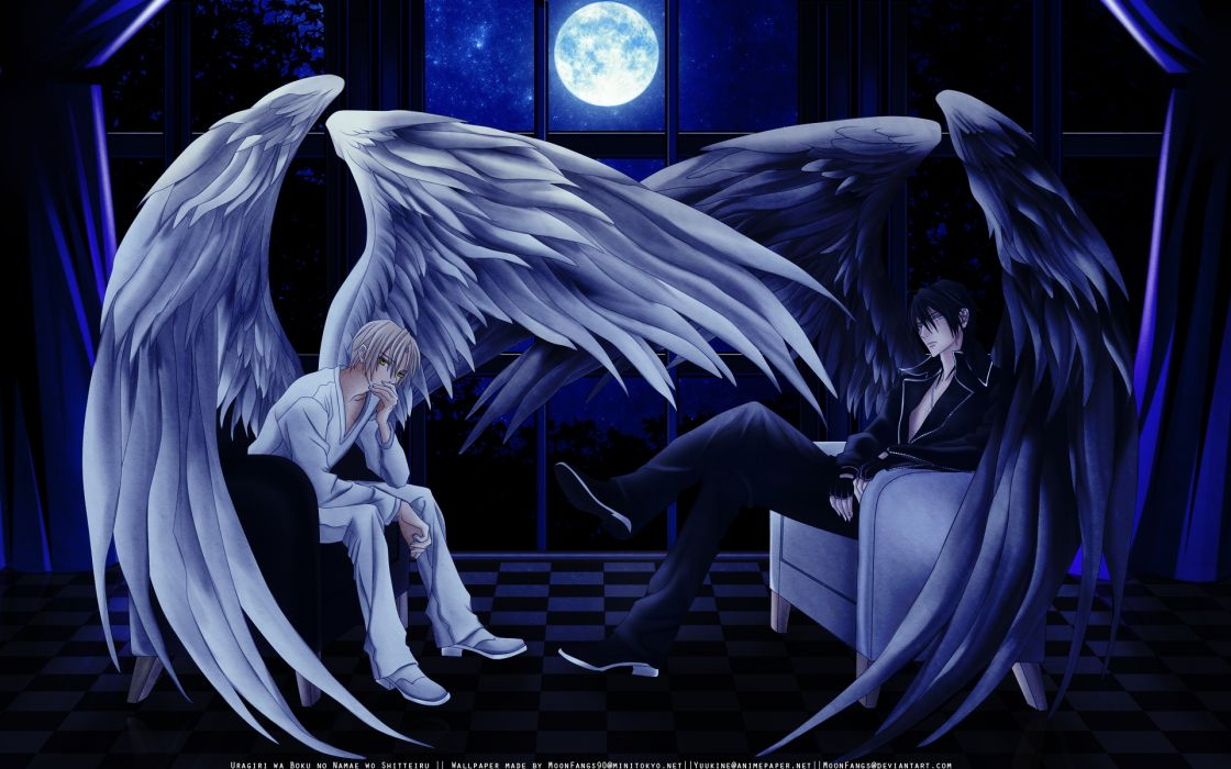 Uragiri wa Boku no Namae wo Shitteiru Series Luka Crosszeria Character Yuki Giou good evil dark horror angels wings vector art wallpaper