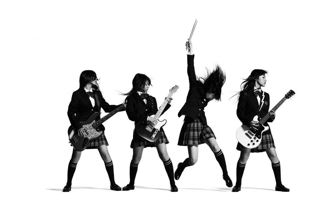 Scandal Guitar BW White Asian Brunette Schoolgir wallpaper
