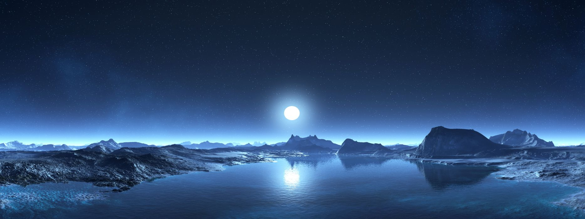 Multi Monitor Dual Screen sci fi landscapes 3d cg digital art lakes mountains sky stars moon night wallpaper
