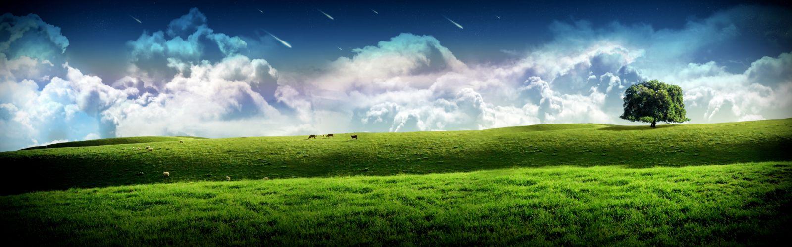 Multi Monitor Dual Screen cg digital art dream manip grass hill trees sky clouds stars wallpaper