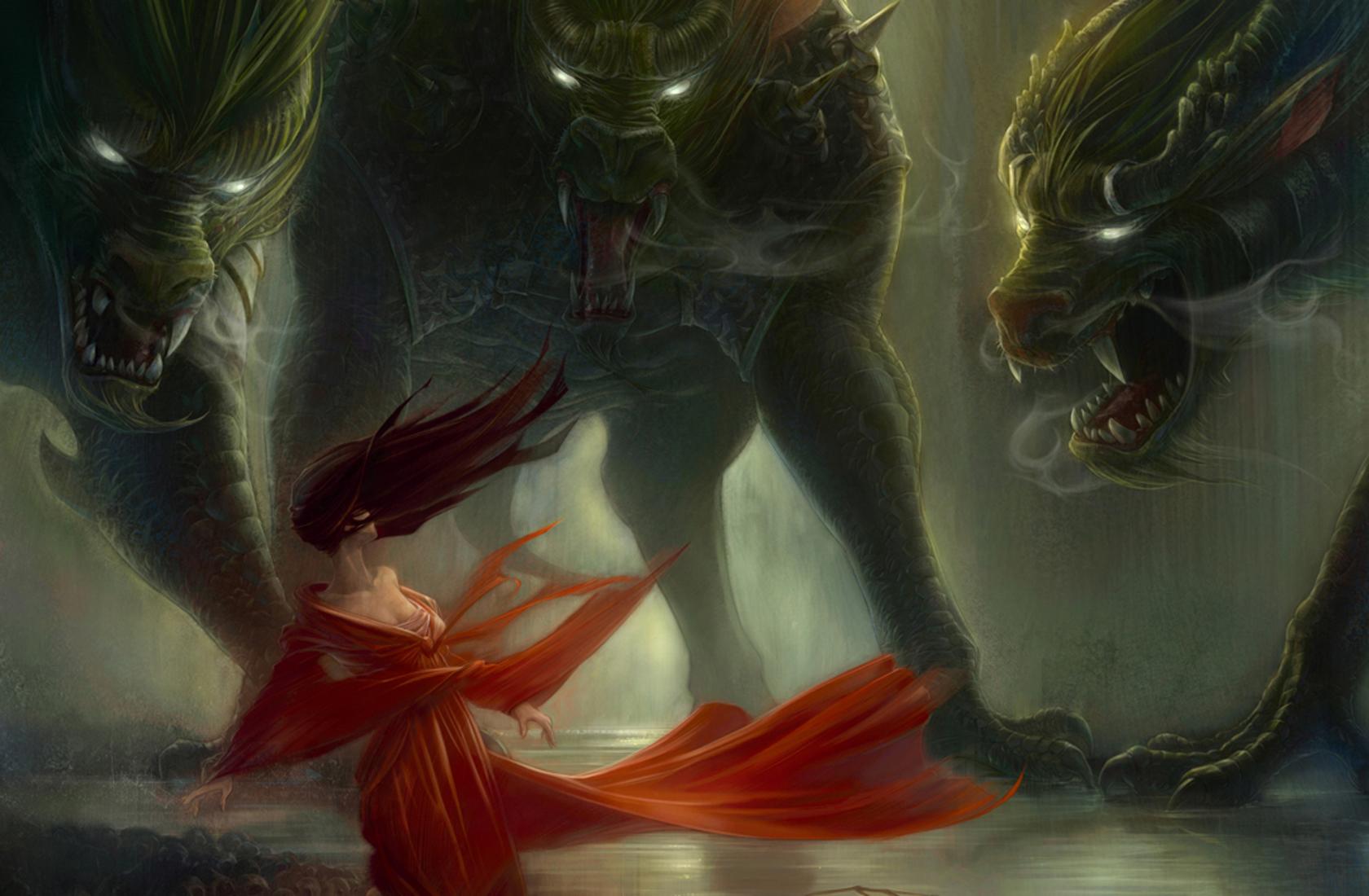 Fantasy art dark horror monsters demons wolves wolf women mood ...