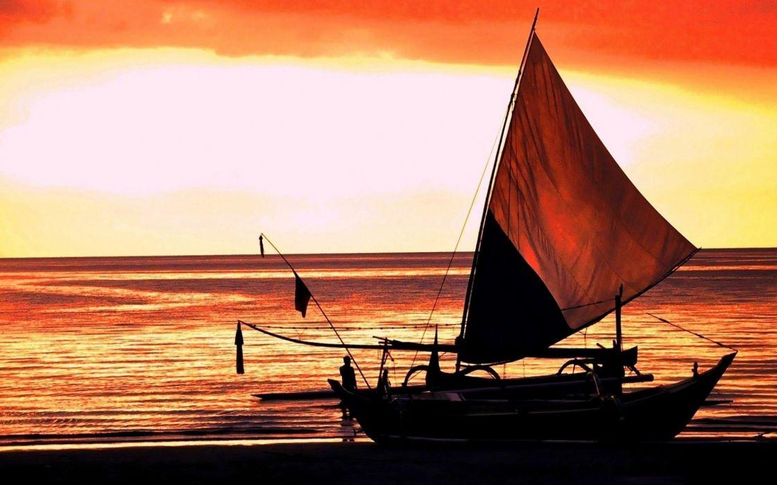 nature sunrise sunsets mood sky clouds dawn ocean sea people sail wallpaper