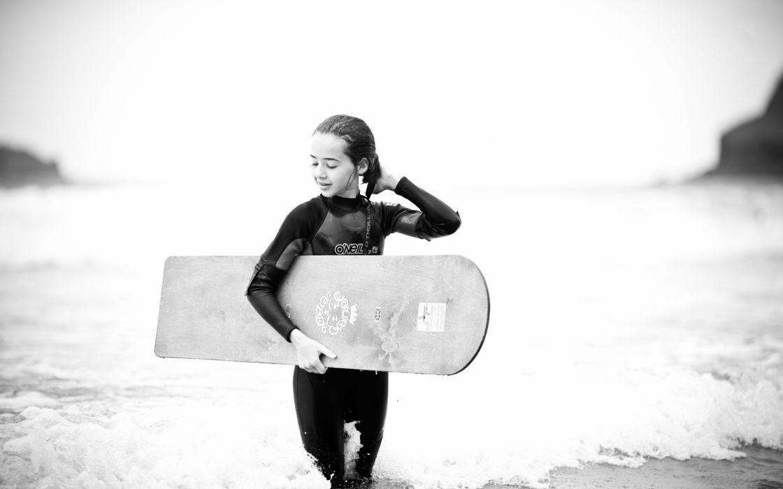 surfing bodyboard girl women nature beaches waves ocean black white wallpaper