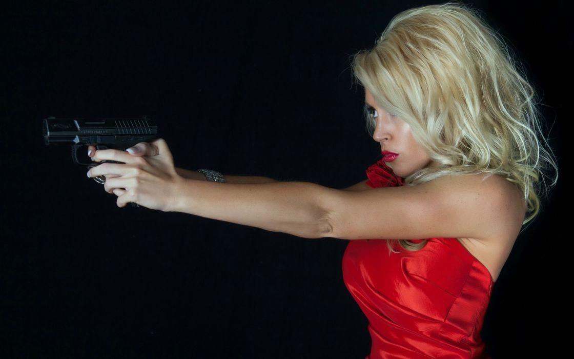 women model blondes sexy babes boobs weapons guns pistol wallpaper