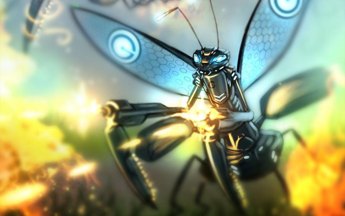 Romantically Apocalyptic comics art sci fi steampunk mech tech dragonfly weapons guns wallpaper