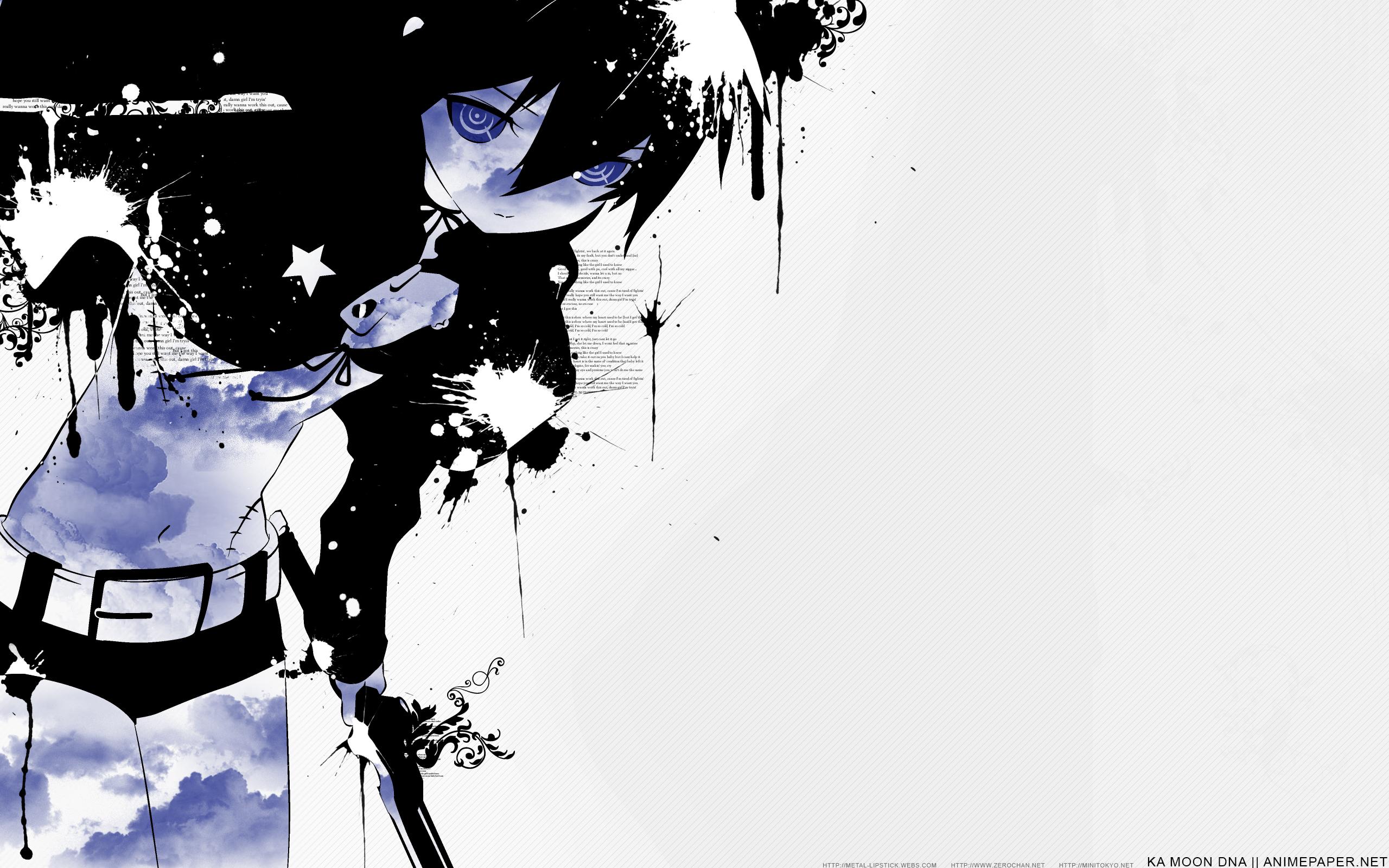 Black Rock Shooter Girl Vector Art Clouds Wallpaper 2560x1600