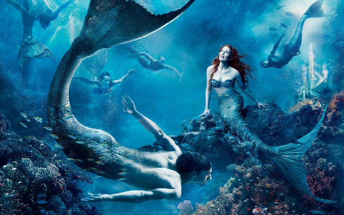 fantasy art cg digital manip underwater women men sexy babes ocean wallpaper