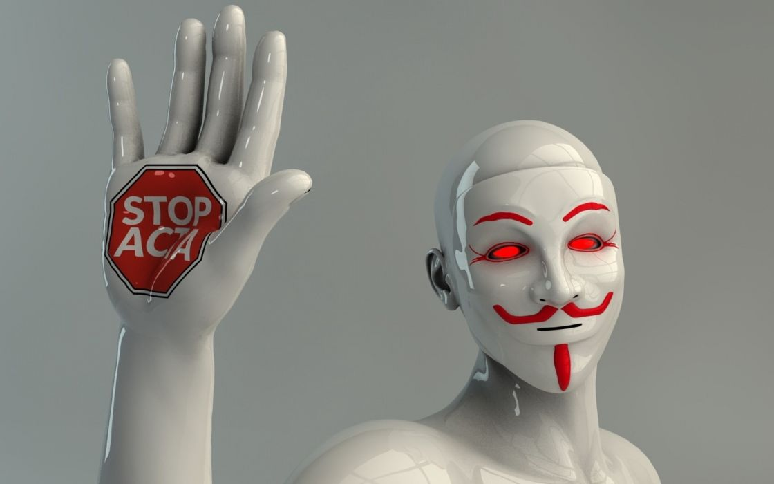 people robot mannequin lighting hand protest gesture interney anarchy dark anonymous mask 3d stop wallpaper