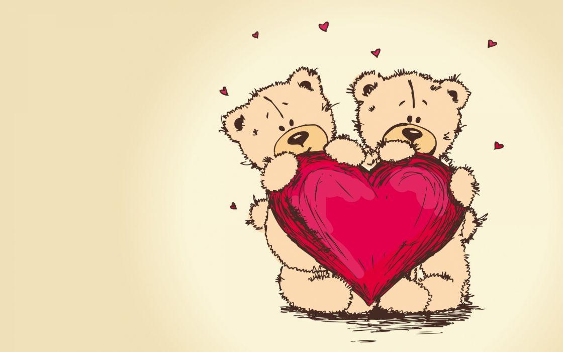 love romance mood heart teddy bear wallpaper