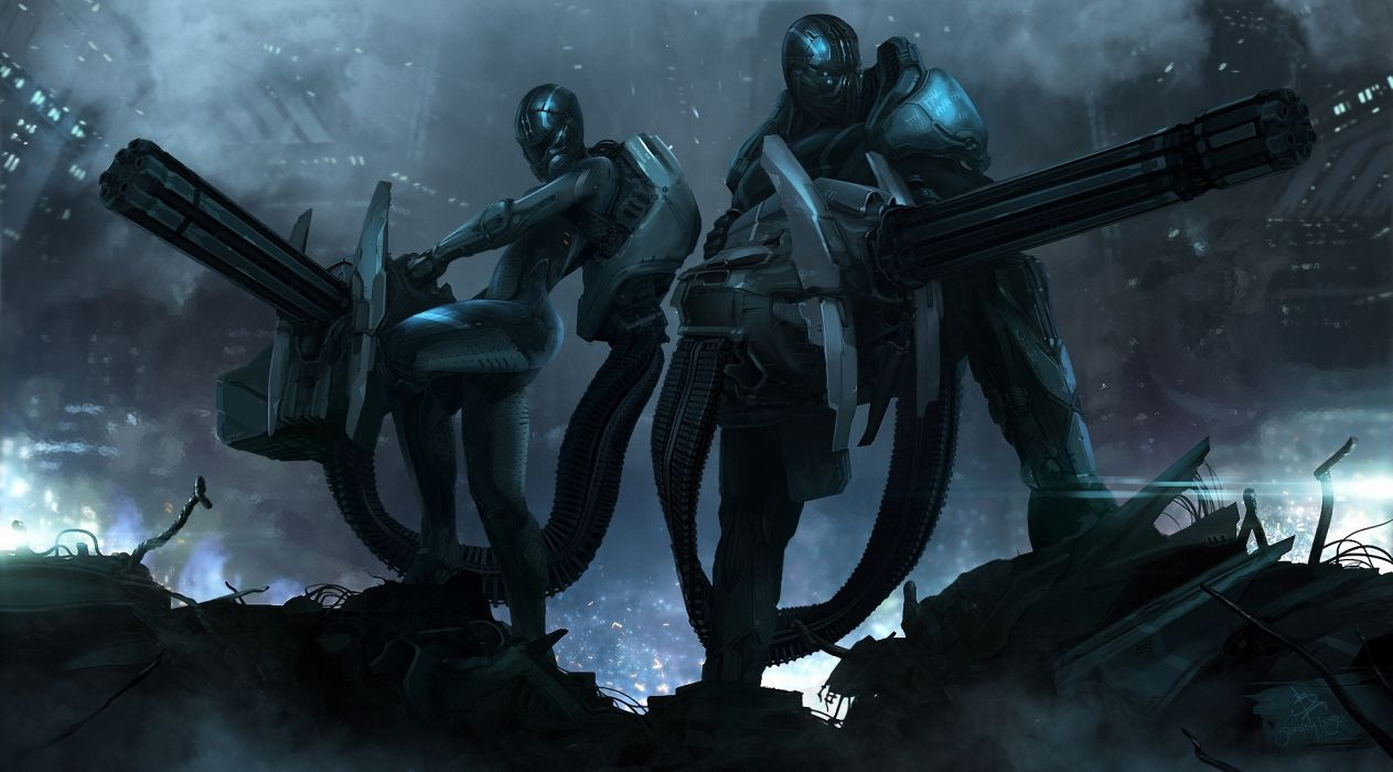 sci fi art futuristic cyborgs robots battle war mech weapons guns adrk wallpaper