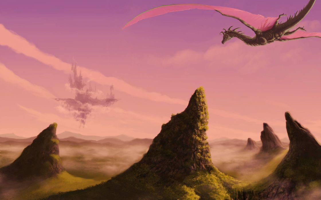 fantasy art dragons landscapes islands cities castle wallpaper