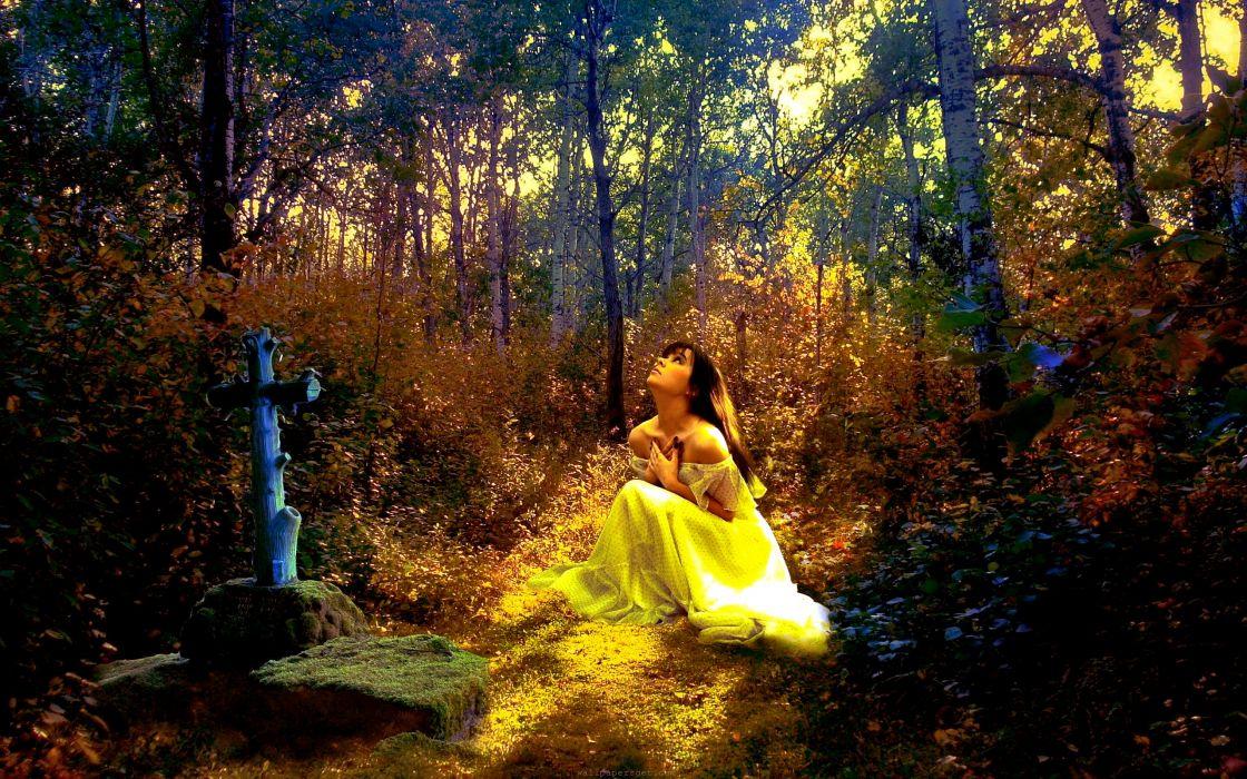 gothid dark horror cemetery grave headstone cross celtic mood sad sorrow waiting trees forest landscapes manip cg digital art gown women girl brunettes wallpaper