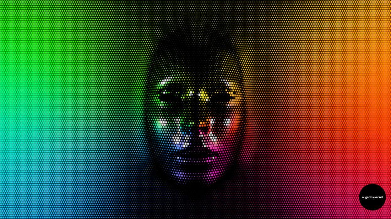 cg digital art psychedelic face skull color wallpaper