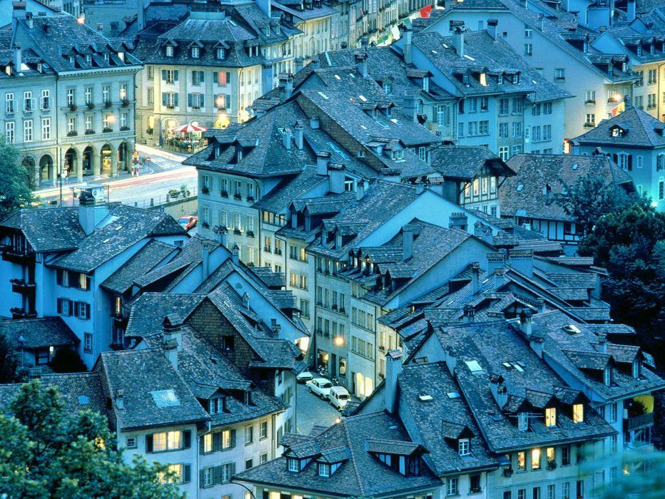 Switzerland Bern architecture buildings town roof top wallpaper
