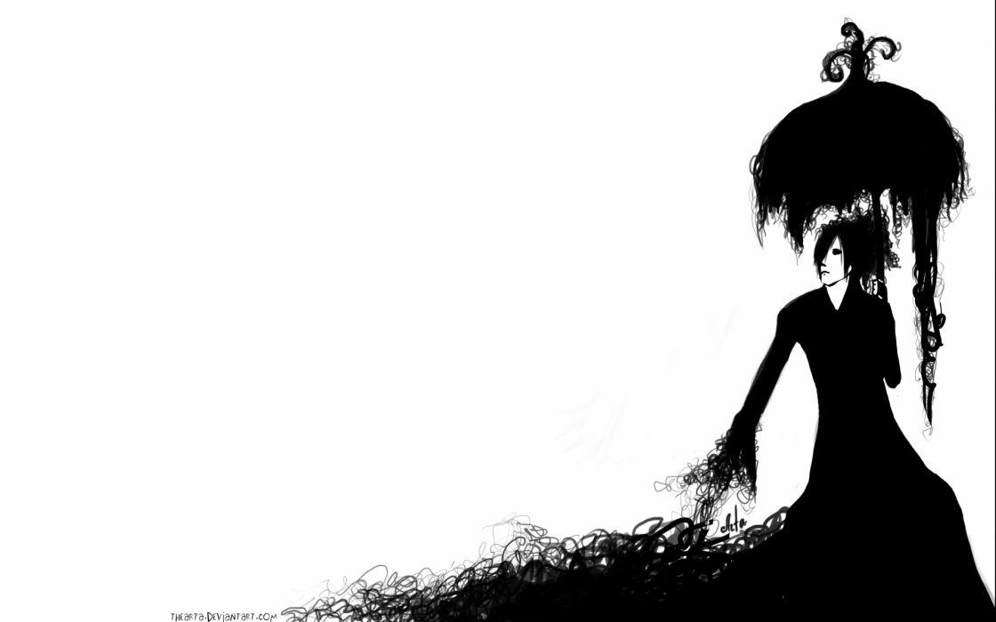 gothic umbrella girl women black white vector art wallpaper