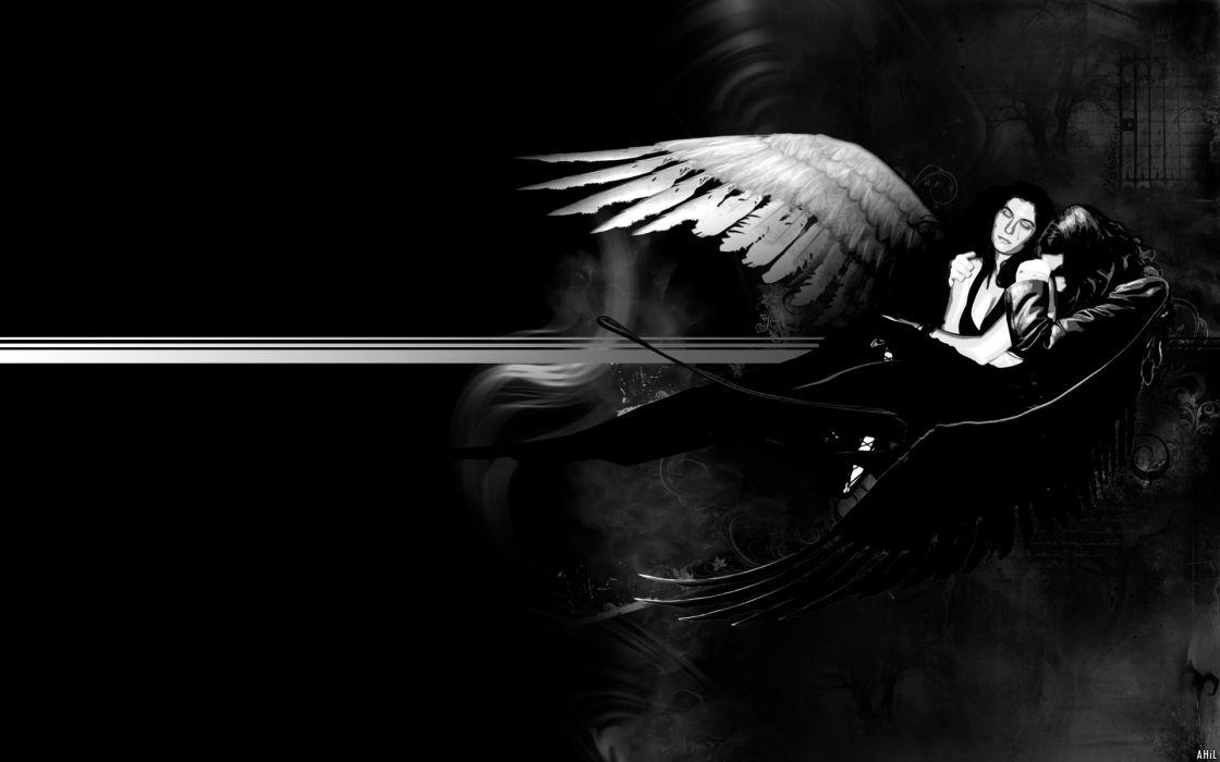 dark horror gothic art angels good evil mood love romance sas sorrow wallpaper