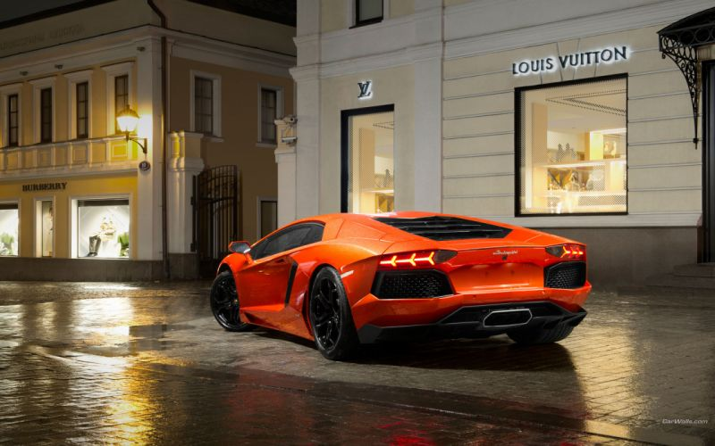 2012 Lamborghini Aventador LP700-4 roads rain storms drops supercars buildings wallpaper