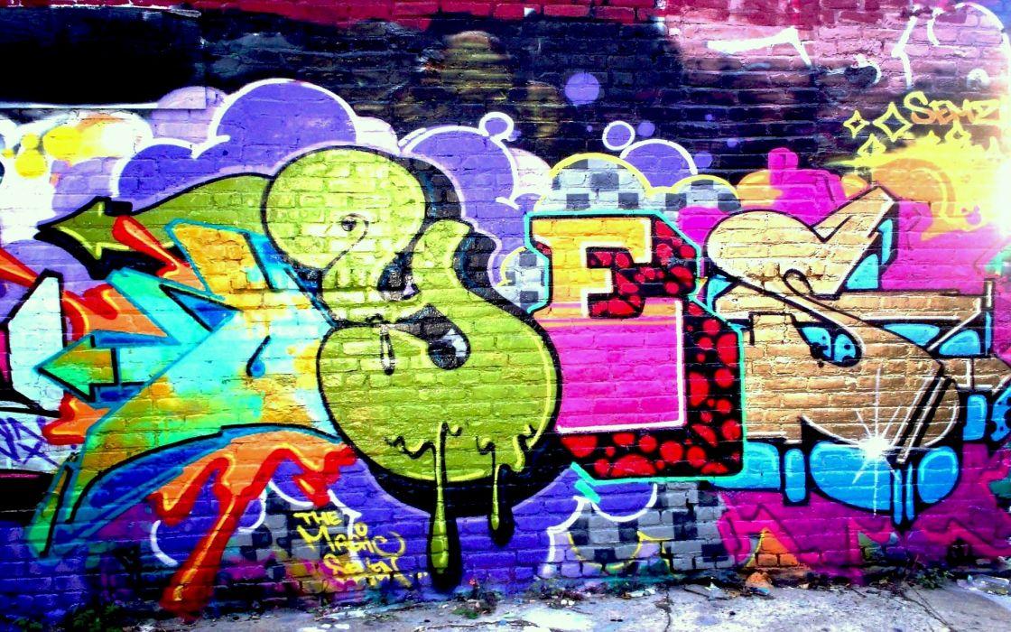 graffiti urban art bricks wall paint color wallpaper