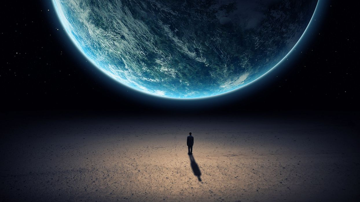 mood sci fi situations men people earth planets wallpaper
