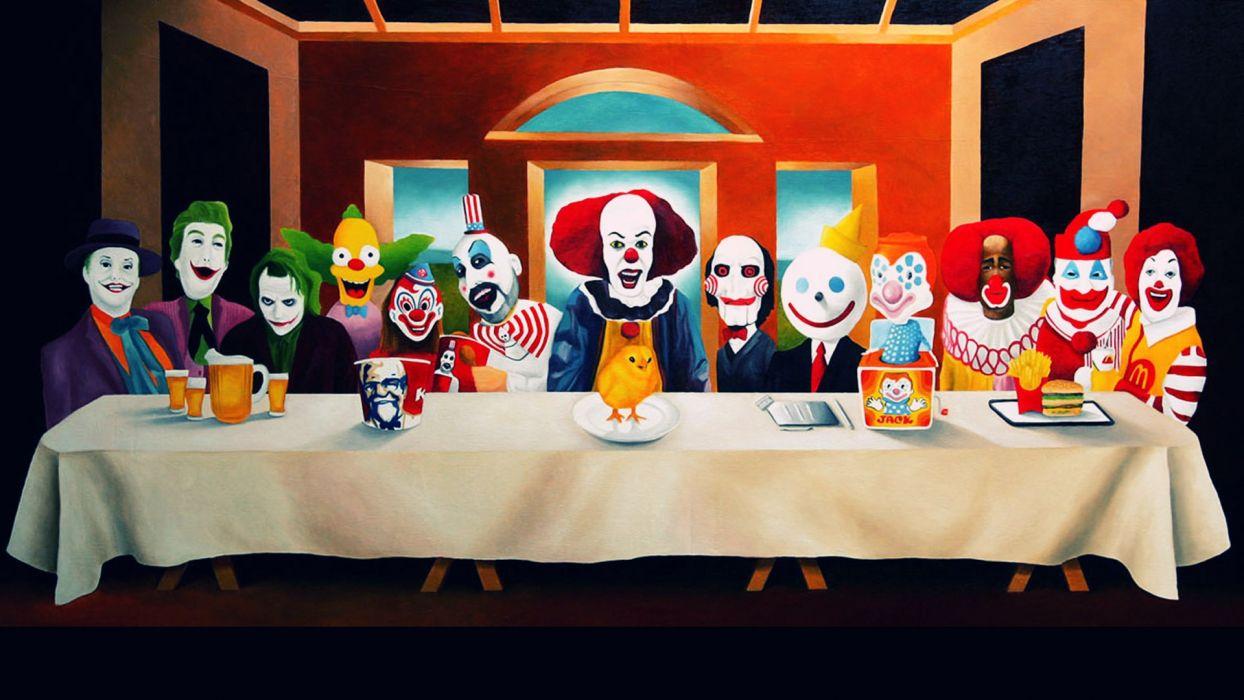 paintings the joker clown jack ronald mcdonald last supper kfc last supper clowns mascot humor sadic wallpaper