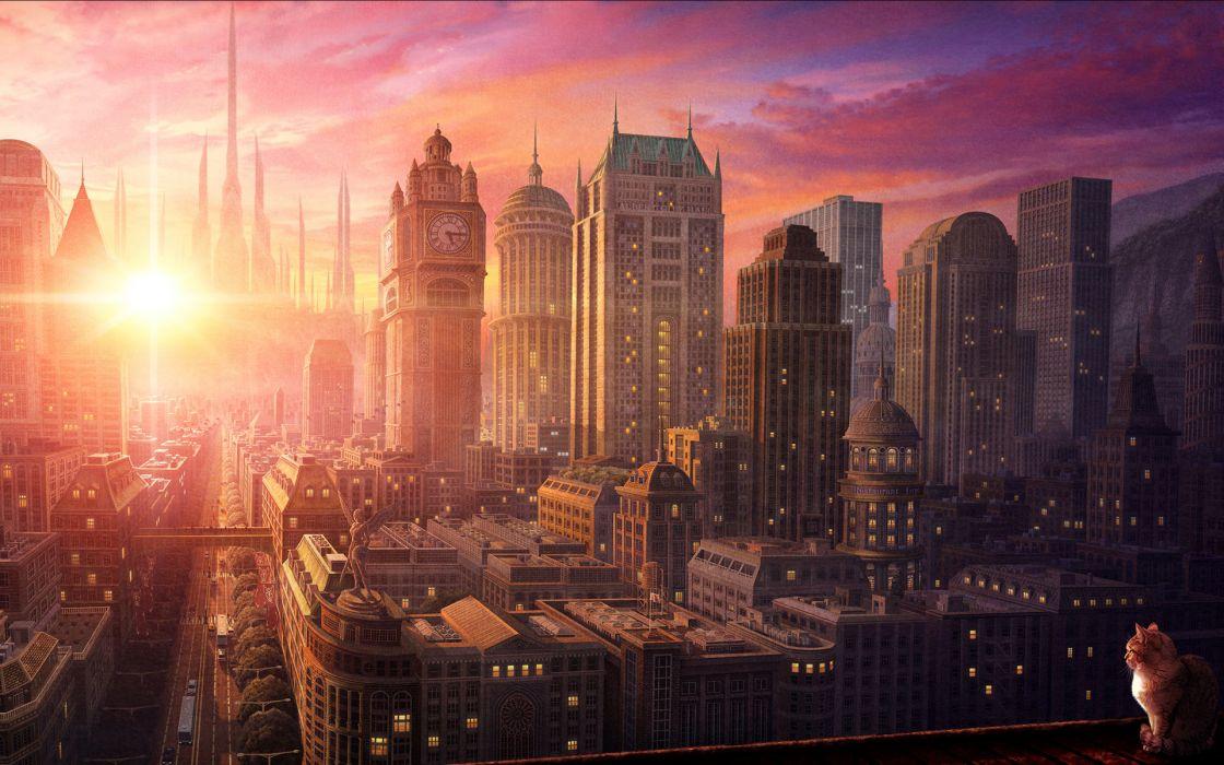 Cg Digital Art Cats Sunrise Sunset Architecture Buildings Skyscrapers Sky Clouds Wallpaper