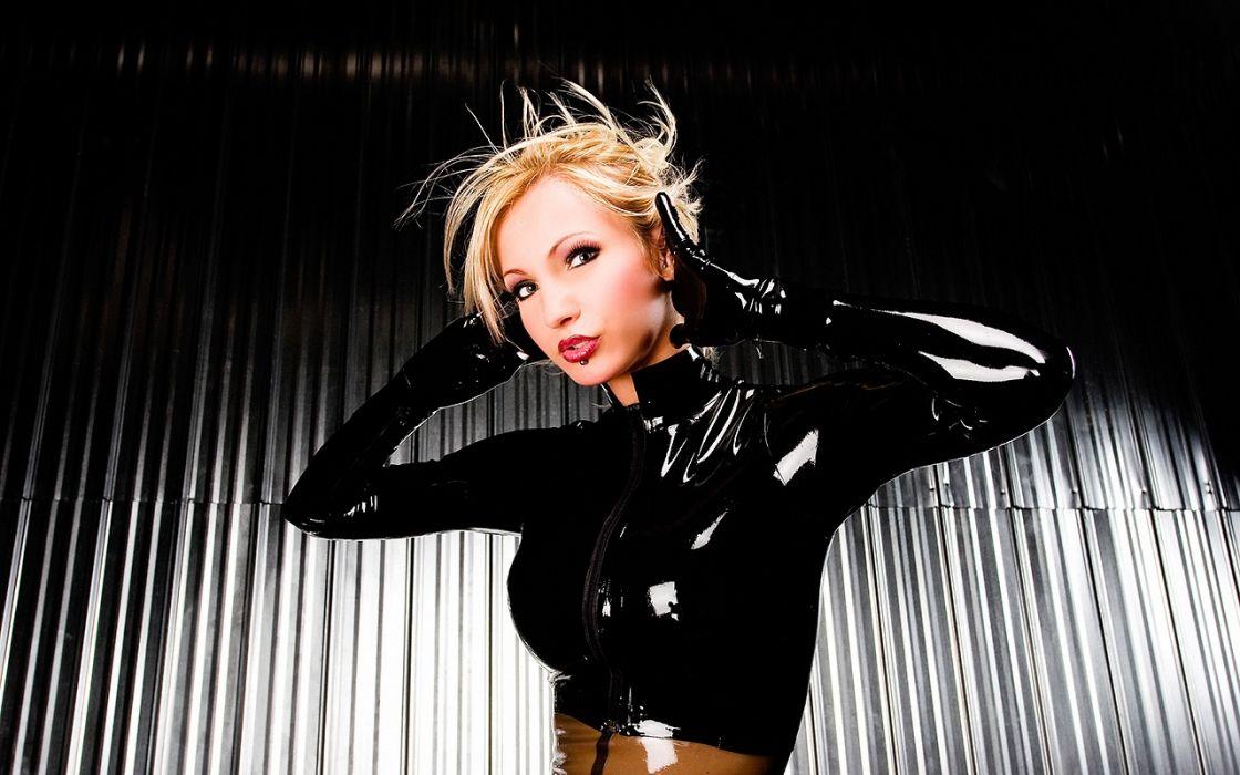 Susan Wayland latex fetish glam women models blondes sexy babes boobs wallpaper