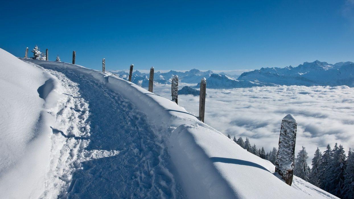 landscapes roads winter snow clouds fog sky wallpaper