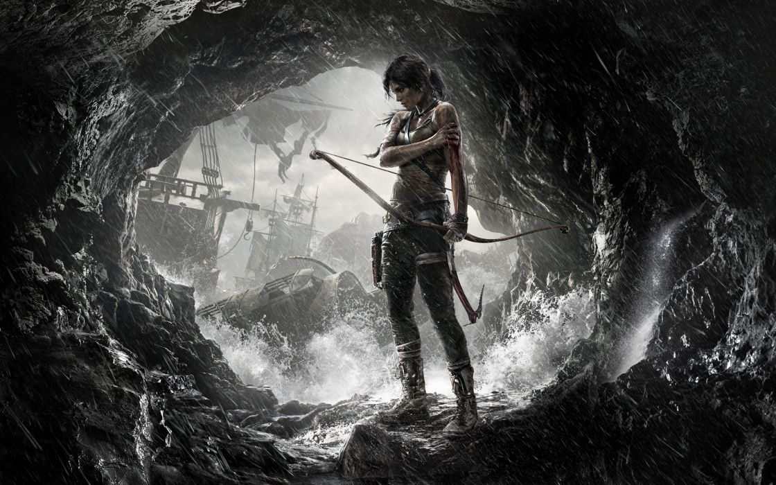 Tomb Raider 2013 Archers Girls Fantasy Lara Croft Cave fantasy adventure games video women sexy babes weopons wallpaper