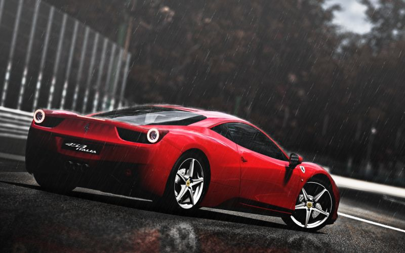 Ferrari 458 Italia Rain CG gt gran turismo supercars rain drops storm track red wallpaper