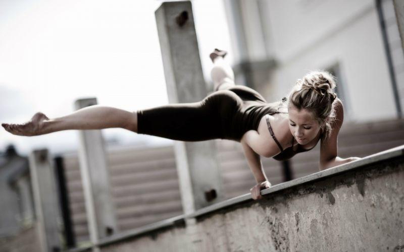 Blonde Exercise Butt fitness dance music women model sexy babes wallpaper