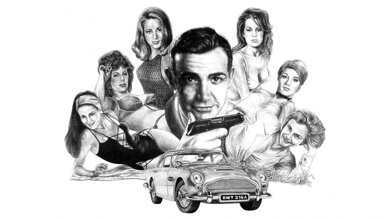 007 James Bond Aston Marin Drawing BW White Sean Connery wallpaper