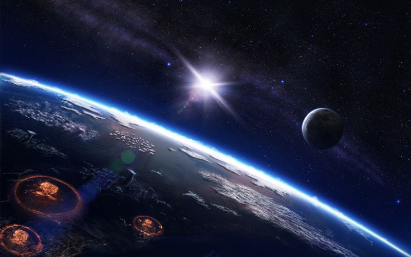 sci fi cg digital art apocalyptic nuclear war battles planets stars wallpaper