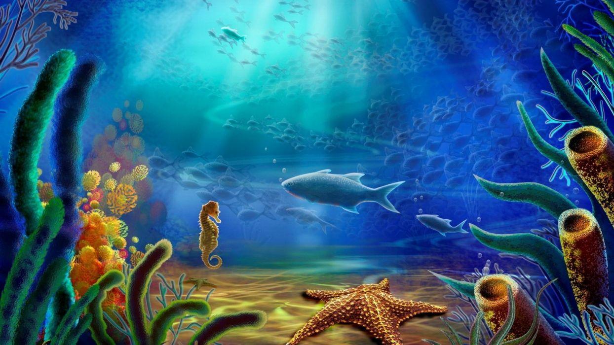 cartoon art vector color ocean underwater wallpaper