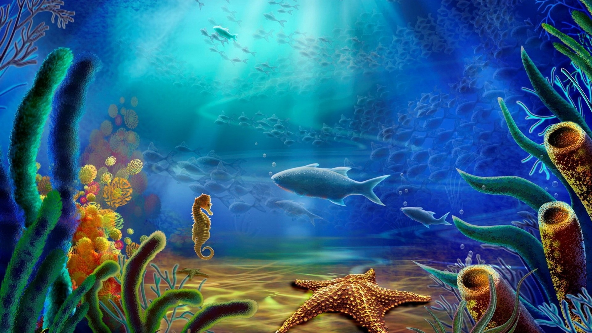 Cartoon_art_vector_color_ocean_underwater on Ocean Animals