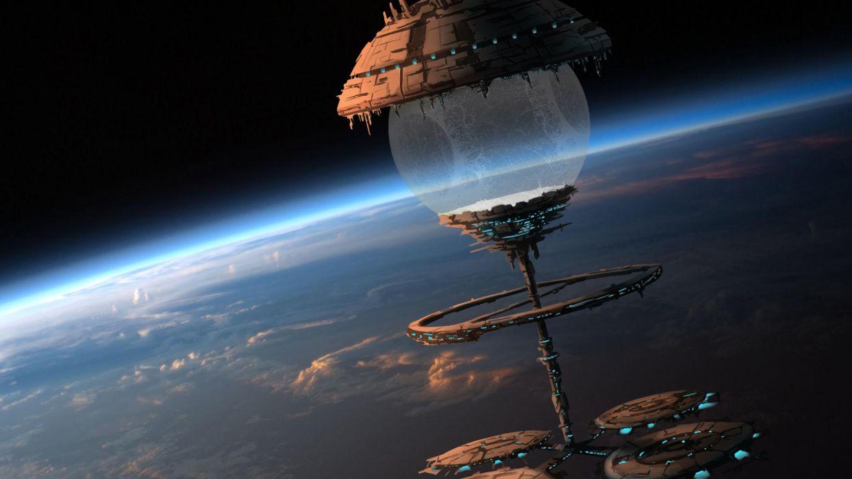 Space Orbital stations sci fi spaceship spacecraft citys art planets atmosphere wallpaper