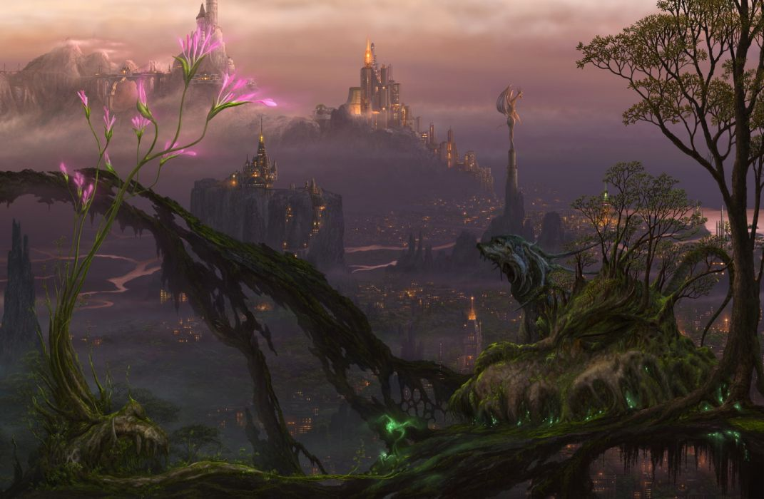 Kazumasa Uchio(artist) fantasy art landscapes cities magic castle trees creatures flowers wallpaper