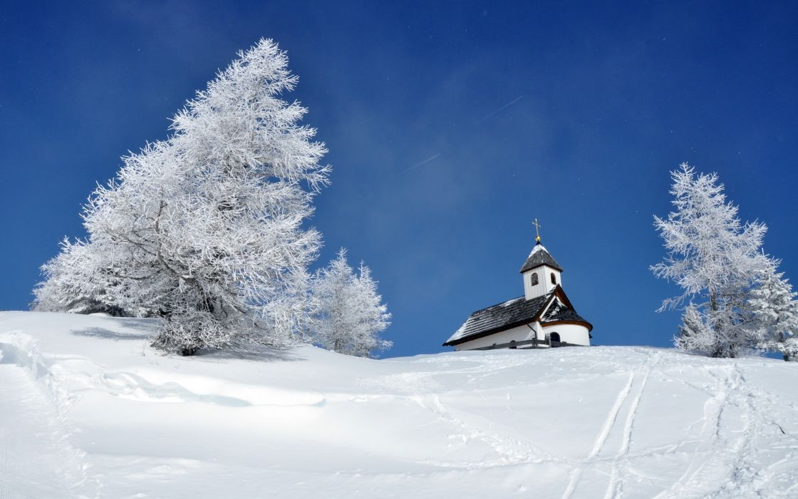 buildings church steeple nature landscapes mountains hills winter snow trees sky wallpaper