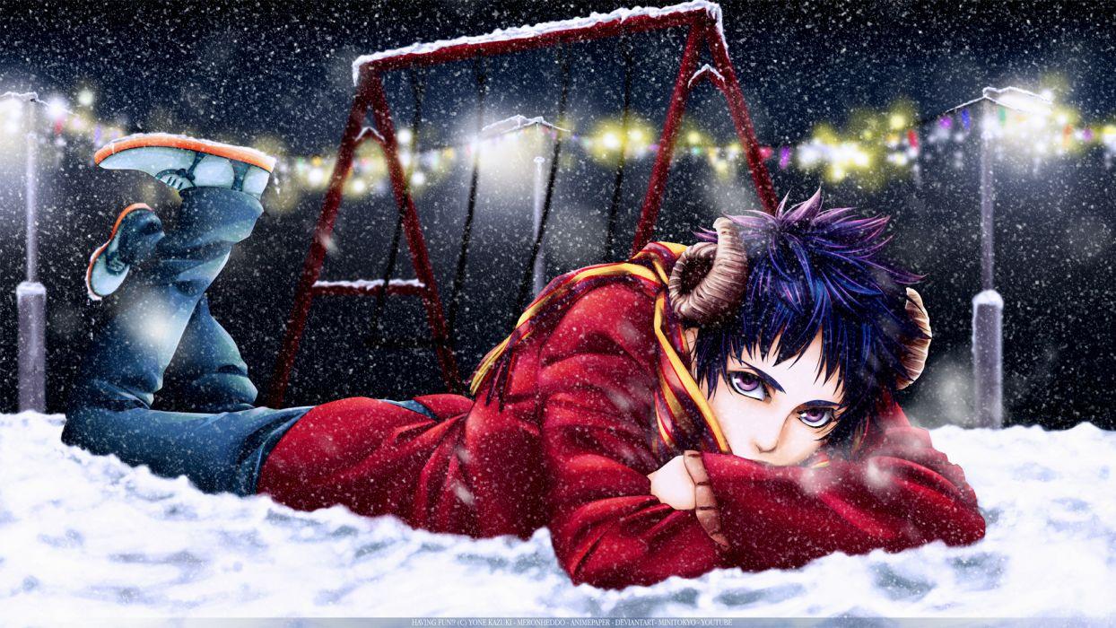 Yone Kazuki Mangaka boy mood winter snow flakes vector art wallpaper