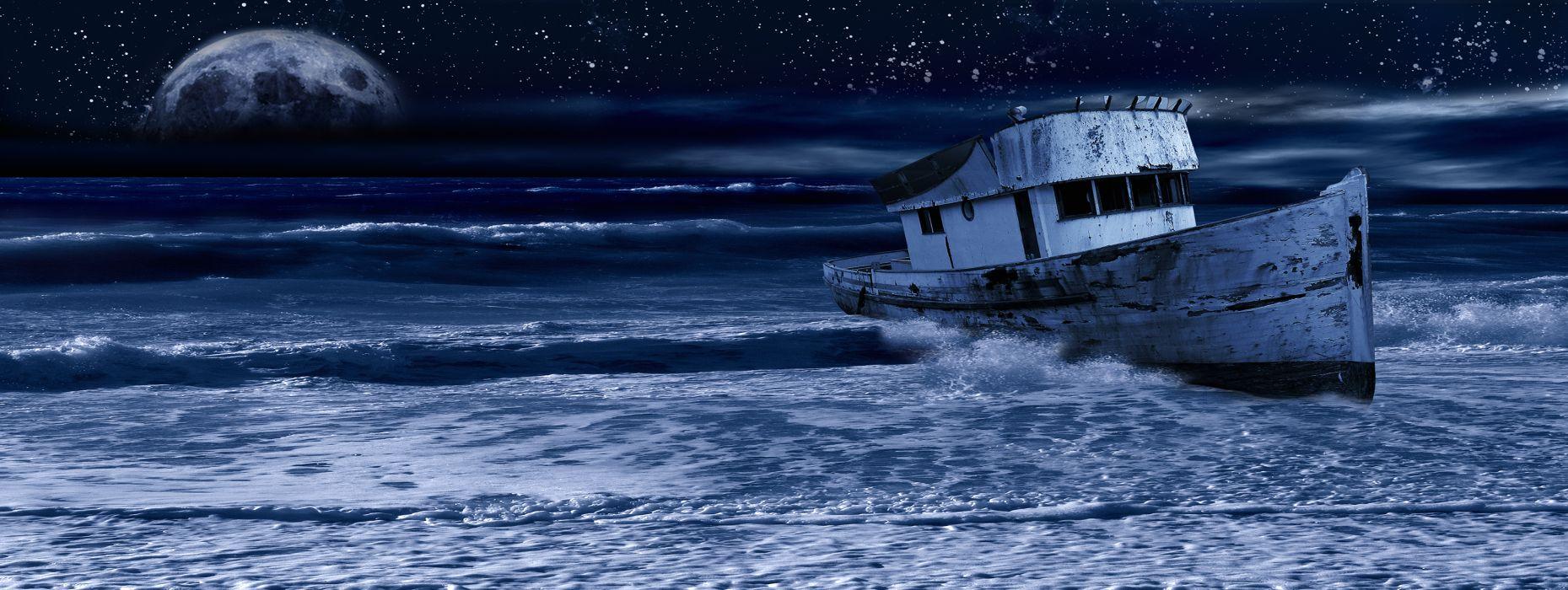Multi Monitor dual screen cg digital art manip boats ocean sea sky stars moon wreck decay ruin wallpaper