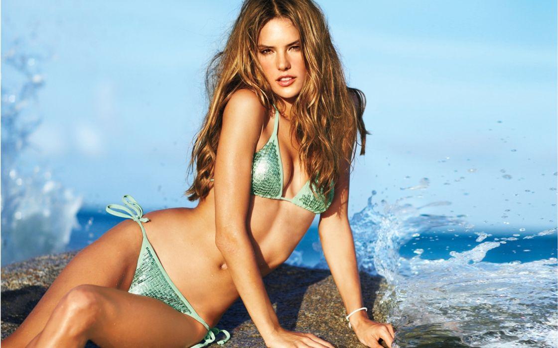 Alessandra Ambrosio model women brunette fashion sexy babes bikinis swimwear summer ocean waves wallpaper