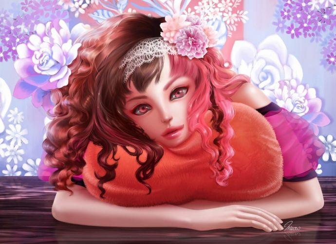original fantasy art women girl flowers face pov wallpaper